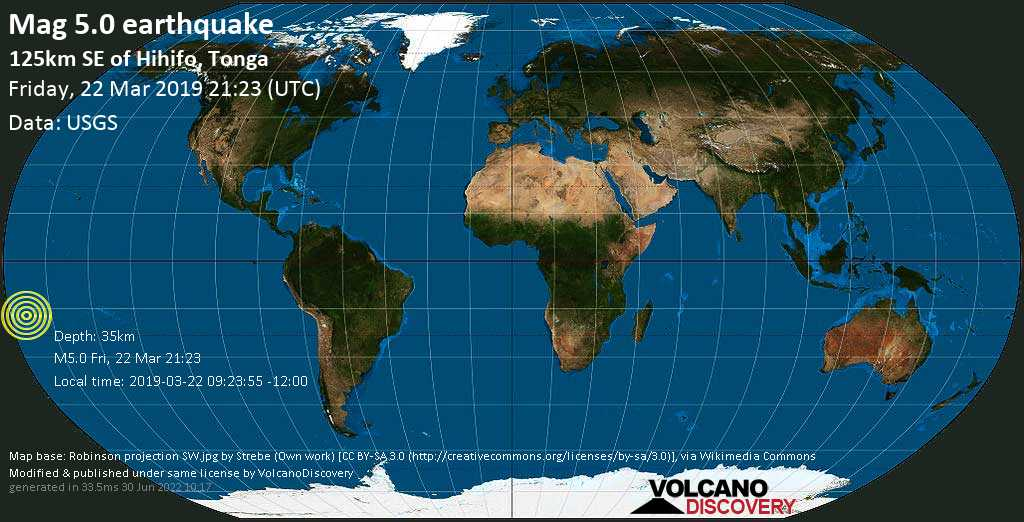 Moderate mag. 5.0 earthquake  - 125km SE of Hihifo, Tonga on Friday, 22 March 2019
