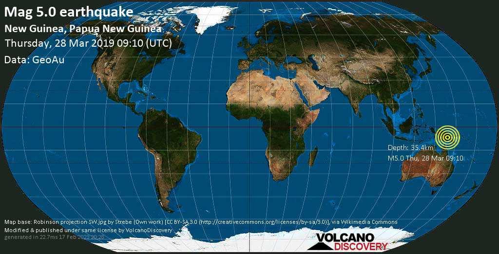 Moderate mag. 5.0 earthquake  - New Guinea, Papua New Guinea on Thursday, 28 March 2019