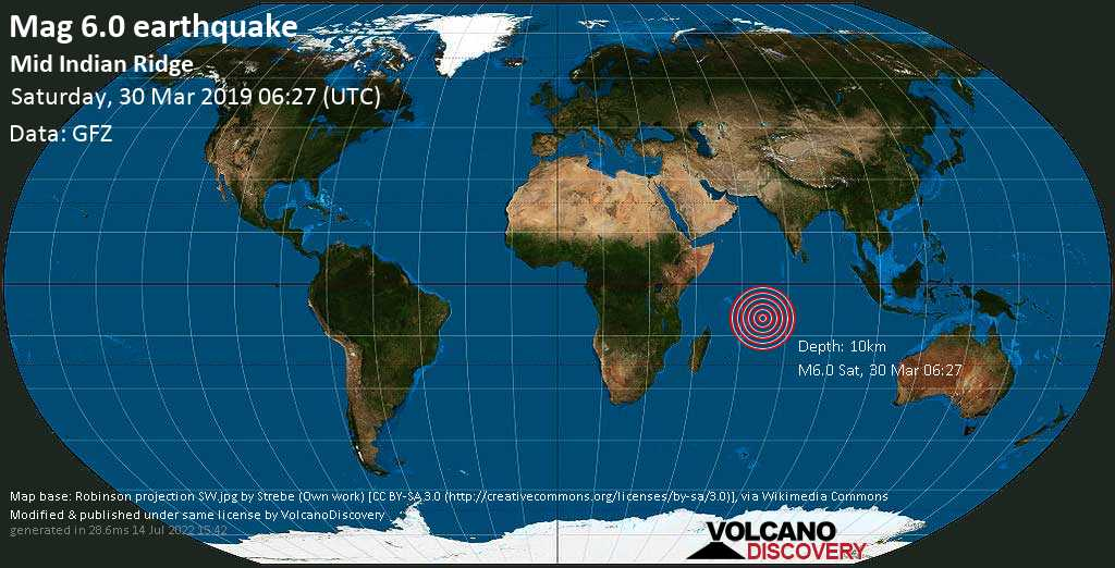 Strong mag. 6.0 earthquake  - Mid Indian Ridge on Saturday, 30 March 2019