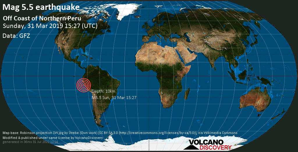 Moderate mag. 5.5 earthquake  - Off Coast of Northern Peru on Sunday, 31 March 2019