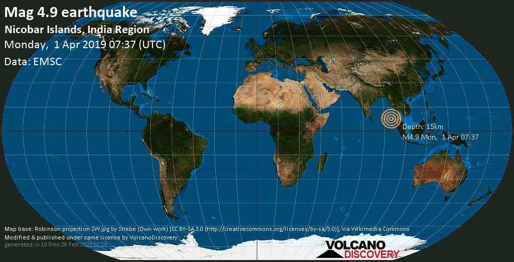 Light mag. 4.9 earthquake  - Nicobar Islands, India Region on Monday, 1 April 2019