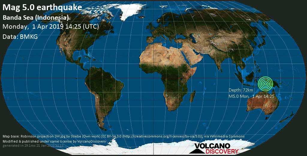 Moderate mag. 5.0 earthquake  - Banda Sea (Indonesia) on Monday, 1 April 2019