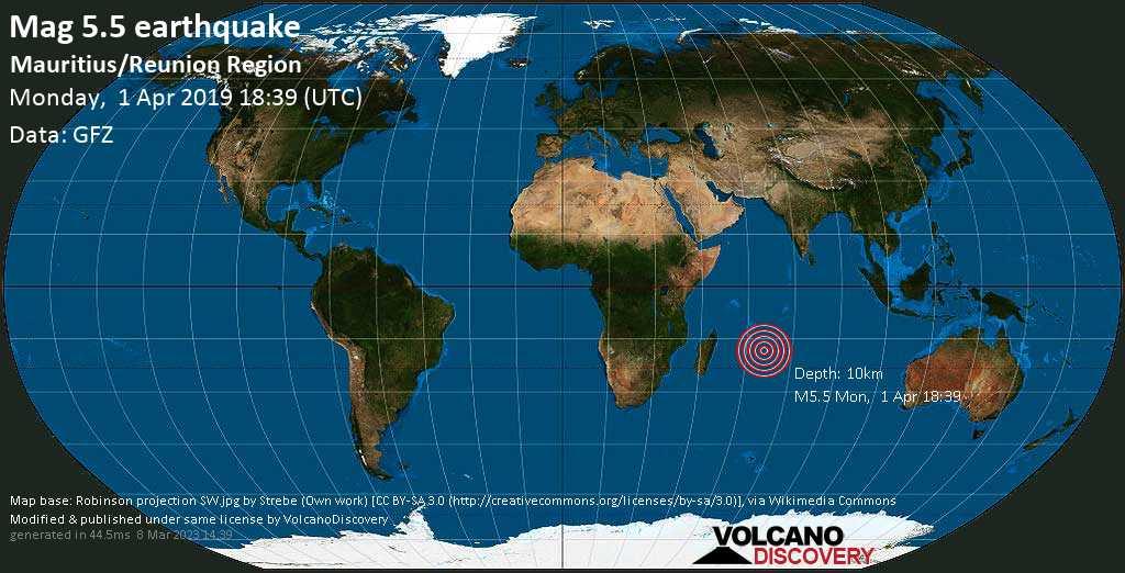 Moderate mag. 5.5 earthquake  - Mauritius/Reunion Region on Monday, 1 April 2019