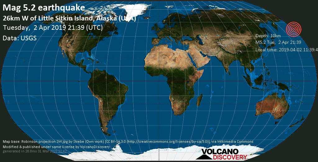 Moderate mag. 5.2 earthquake  - 26km W of Little Sitkin Island, Alaska (USA) on Tuesday, 2 April 2019