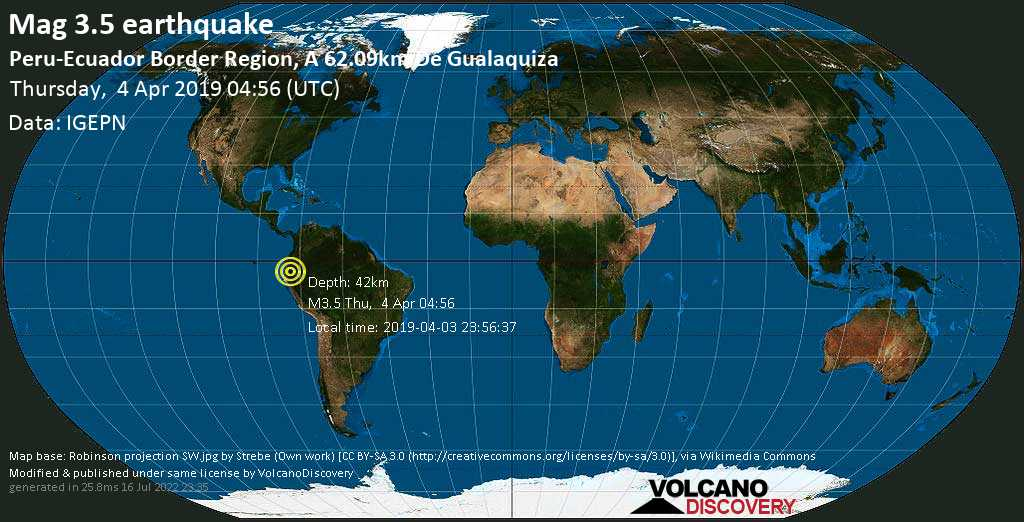 Minor mag. 3.5 earthquake  - Peru-Ecuador Border Region, a 62.09km de Gualaquiza on Thursday, 4 April 2019