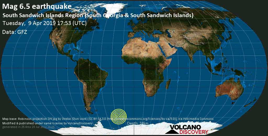Strong mag. 6.5 earthquake  - South Sandwich Islands Region (South Georgia & South Sandwich Islands) on Tuesday, 9 April 2019