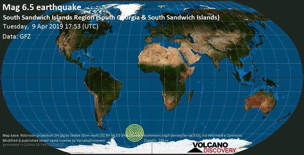 Starkes Erdbeben der Stärke 6.5 - South Sandwich Islands Region (South Georgia & South Sandwich Islands) am Dienstag, 09. Apr. 2019