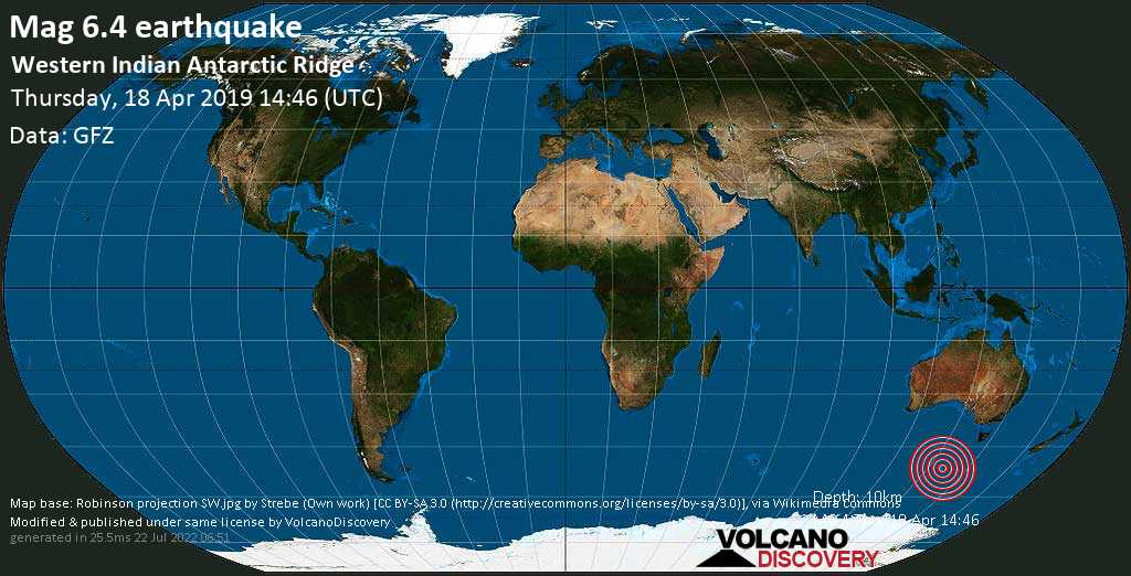 Strong mag. 6.4 earthquake  - Western Indian Antarctic Ridge on Thursday, 18 April 2019