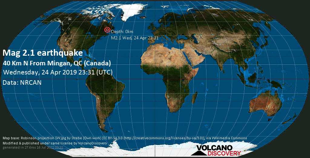 Minor mag. 2.1 earthquake  - 40 km N from Mingan, QC (Canada) on Wednesday, 24 April 2019