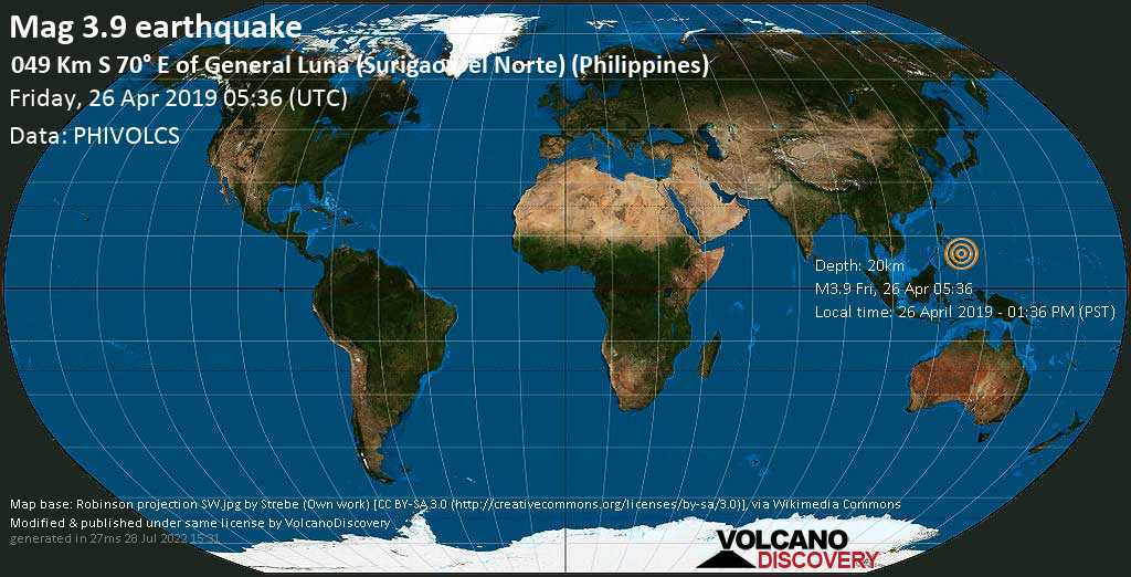 Minor mag. 3.9 earthquake  - 049 km S 70° E of General Luna (Surigao Del Norte) (Philippines) on Friday, 26 April 2019