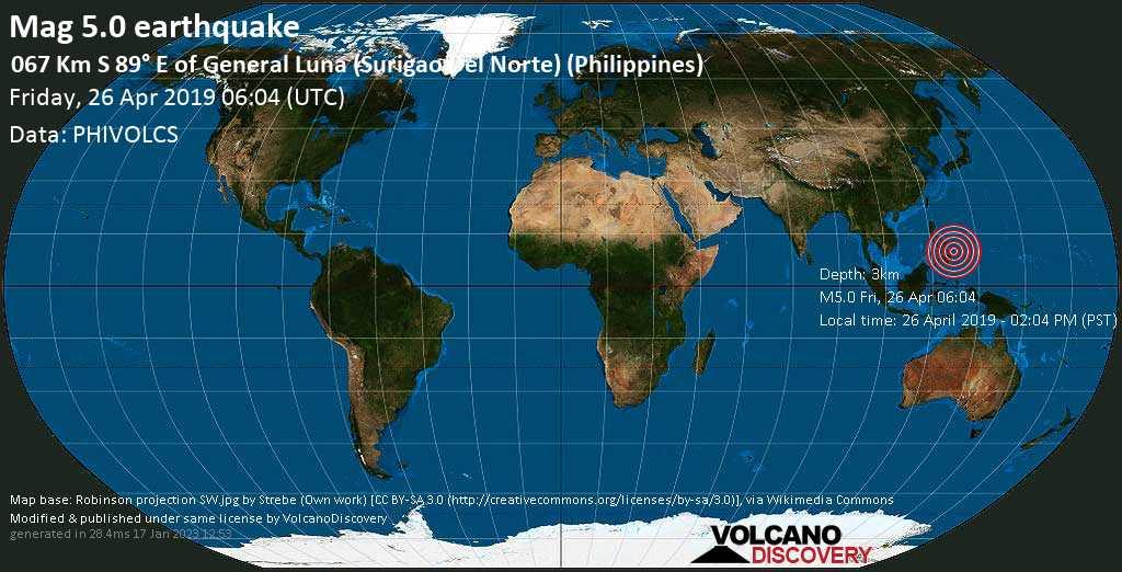 Moderate mag. 5.0 earthquake  - 067 km S 89° E of General Luna (Surigao Del Norte) (Philippines) on Friday, 26 April 2019
