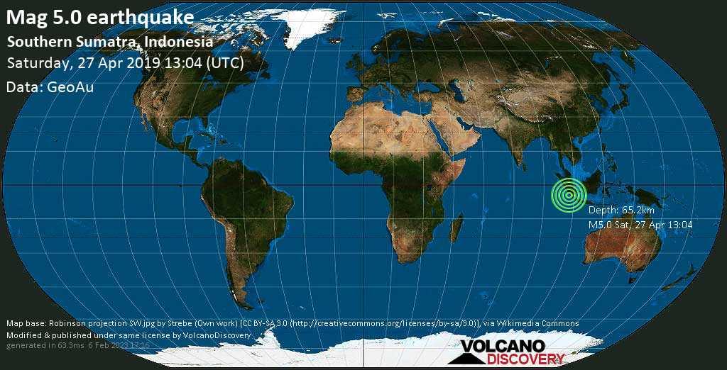 Moderate mag. 5.0 earthquake  - Southern Sumatra, Indonesia on Saturday, 27 April 2019