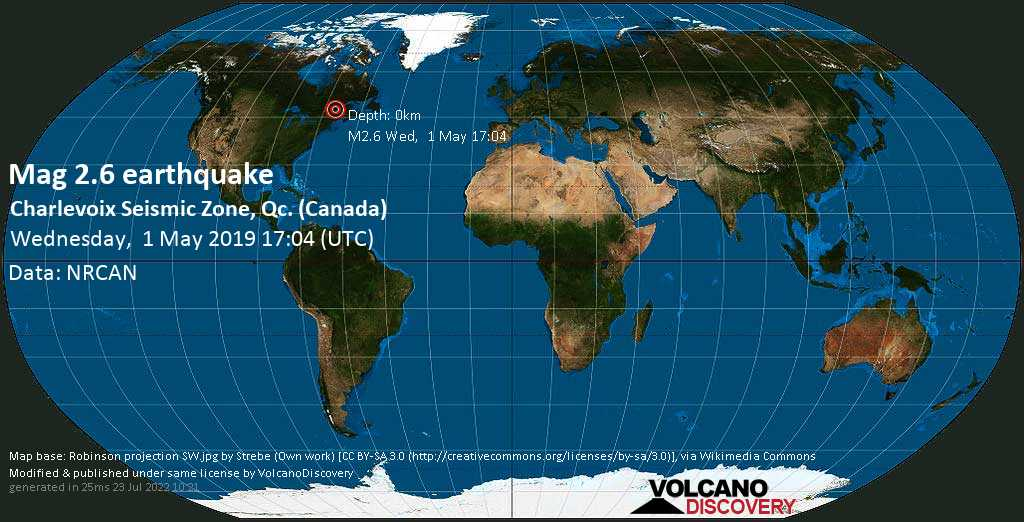Minor mag. 2.6 earthquake  - Charlevoix Seismic Zone, Qc. (Canada) on Wednesday, 1 May 2019
