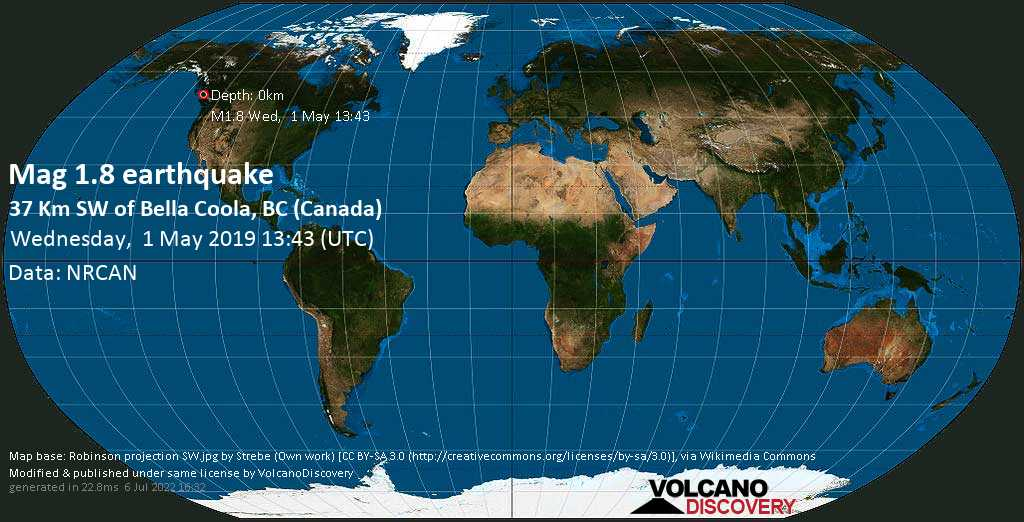 Minor mag. 1.8 earthquake  - 37 km SW of Bella Coola, BC (Canada) on Wednesday, 1 May 2019