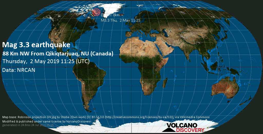 Minor mag. 3.3 earthquake  - 88 km NW from Qikiqtarjuaq, NU (Canada) on Thursday, 2 May 2019