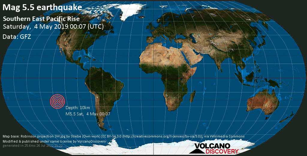 Moderate mag. 5.5 earthquake  - Southern East Pacific Rise on Saturday, 4 May 2019