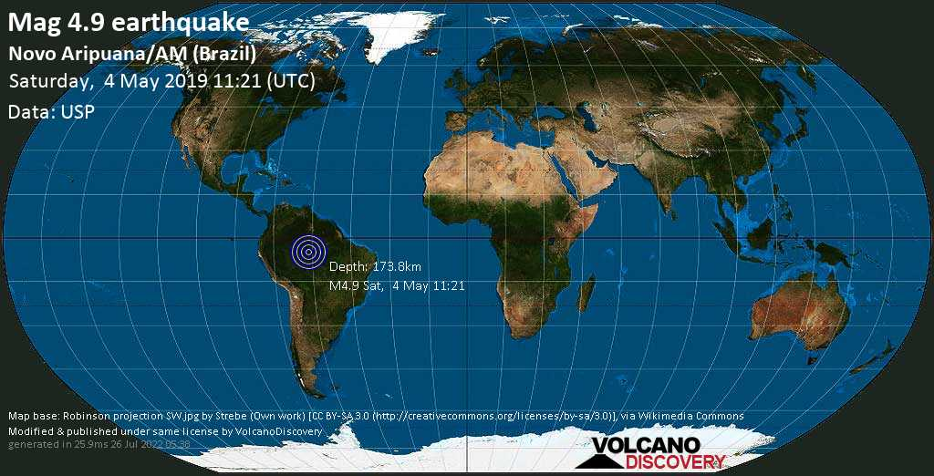 Light mag. 4.9 earthquake  - Novo Aripuana/AM (Brazil) on Saturday, 4 May 2019