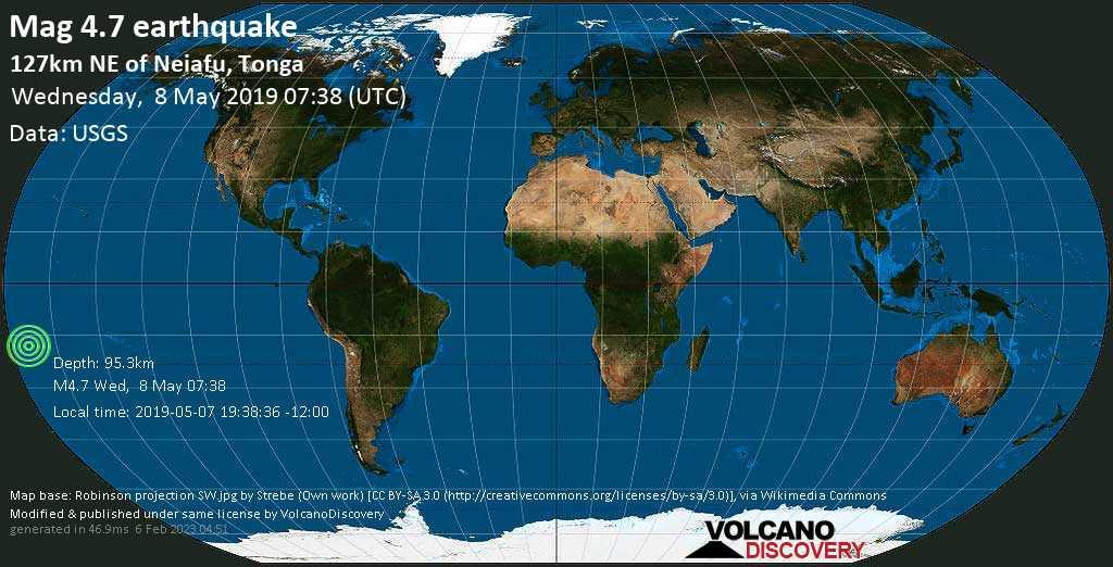 Light mag. 4.7 earthquake  - 127km NE of Neiafu, Tonga on Wednesday, 8 May 2019
