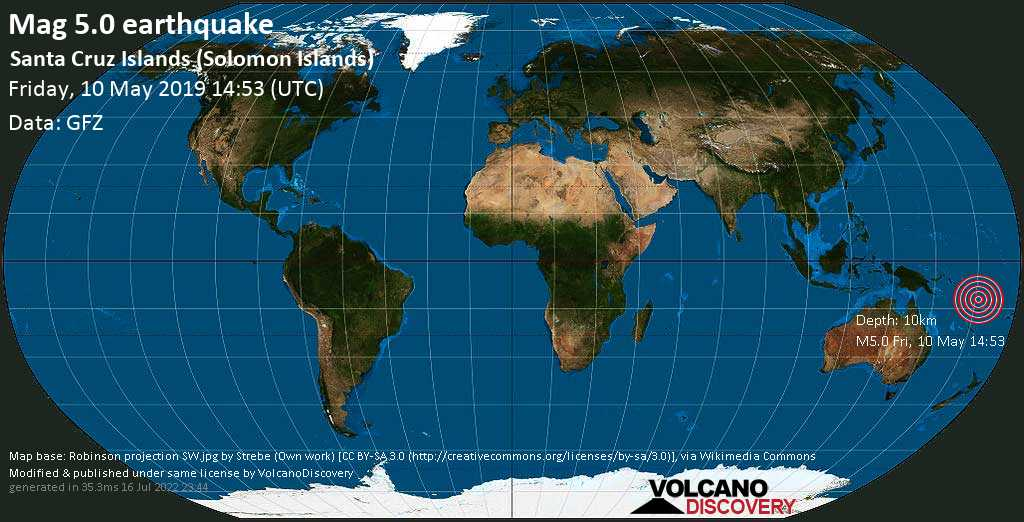 Moderate mag. 5.0 earthquake  - Santa Cruz Islands (Solomon Islands) on Friday, 10 May 2019