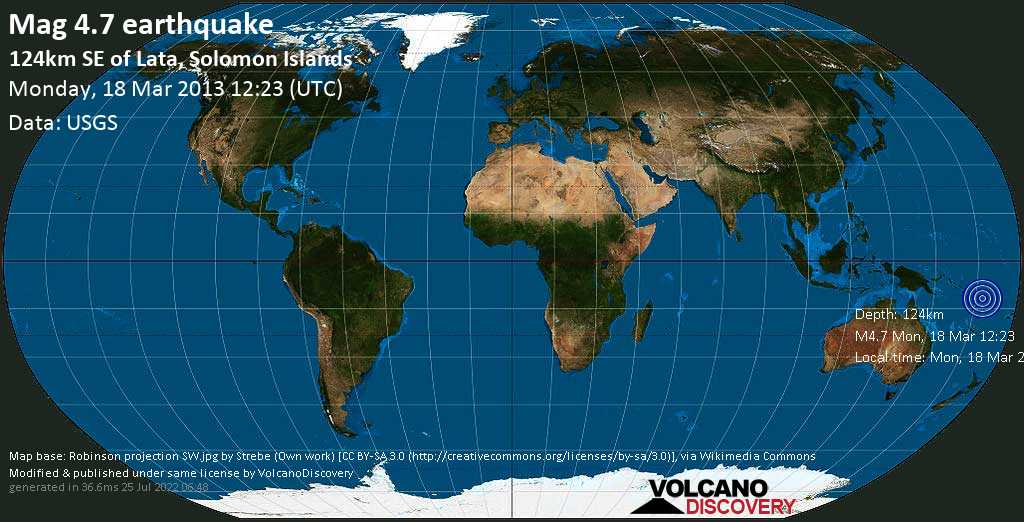 Light mag. 4.7 earthquake  - 124km SE of Lata, Solomon Islands on Monday, 18 March 2013