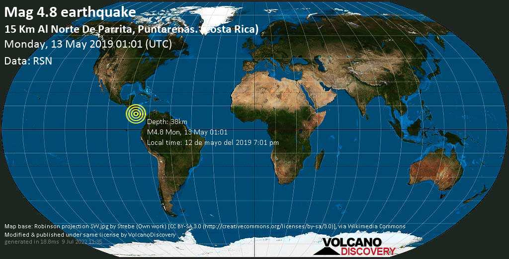 Light mag. 4.8 earthquake  - 15 km al Norte de Parrita, Puntarenas. (Costa Rica) on Monday, 13 May 2019