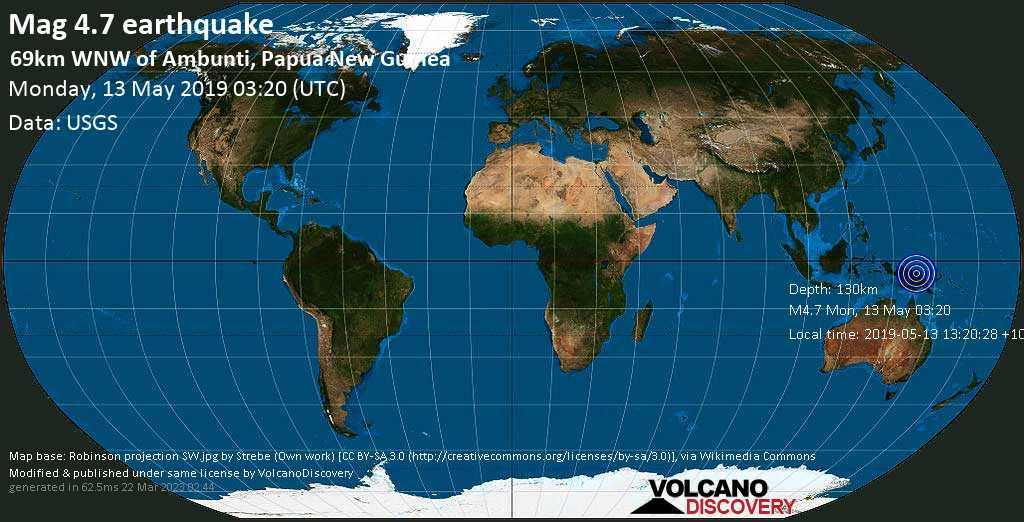 Light mag. 4.7 earthquake  - 69km WNW of Ambunti, Papua New Guinea on Monday, 13 May 2019