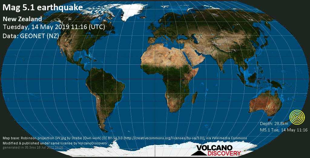 Moderate mag. 5.1 earthquake  - New Zealand on Tuesday, 14 May 2019