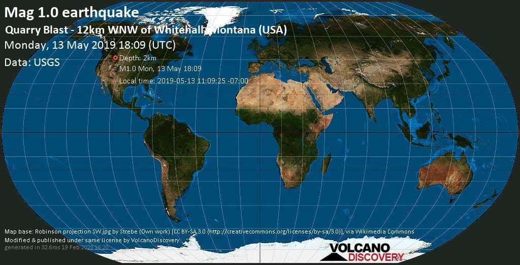 Schwaches Erdbeben der Stärke 1.0 - Quarry Blast - 12km WNW of Whitehall, Montana (USA) am Montag, 13. Mai. 2019