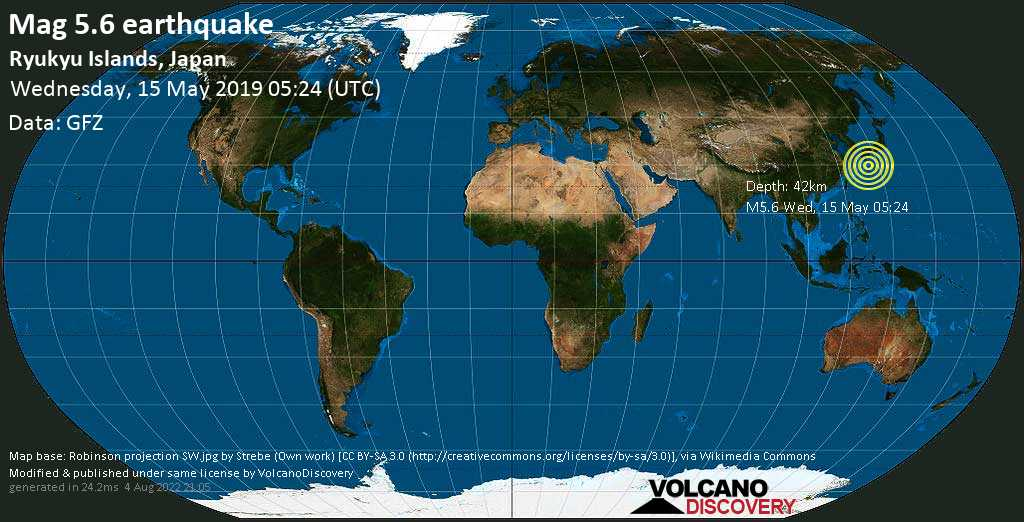Moderate mag. 5.6 earthquake  - Ryukyu Islands, Japan on Wednesday, 15 May 2019