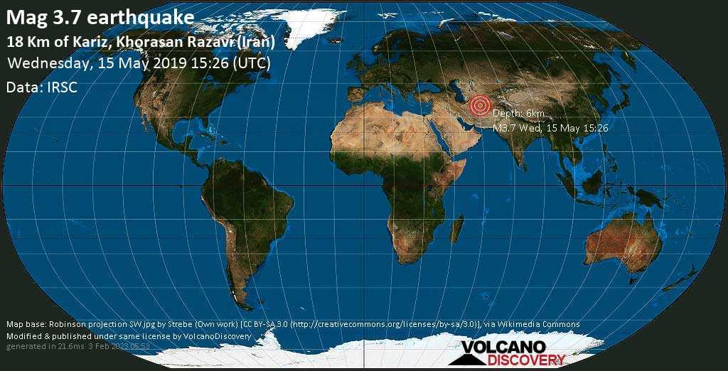 Minor mag. 3.7 earthquake  - 18 km of Kariz, Khorasan Razavi (Iran) on Wednesday, 15 May 2019