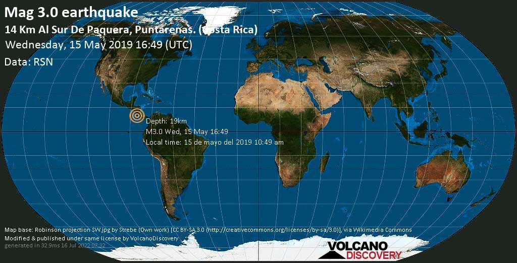 Minor mag. 3.0 earthquake  - 14 km al Sur de Paquera, Puntarenas. (Costa Rica) on Wednesday, 15 May 2019
