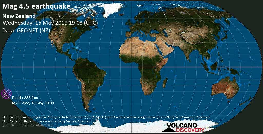 Light mag. 4.5 earthquake  - New Zealand on Wednesday, 15 May 2019