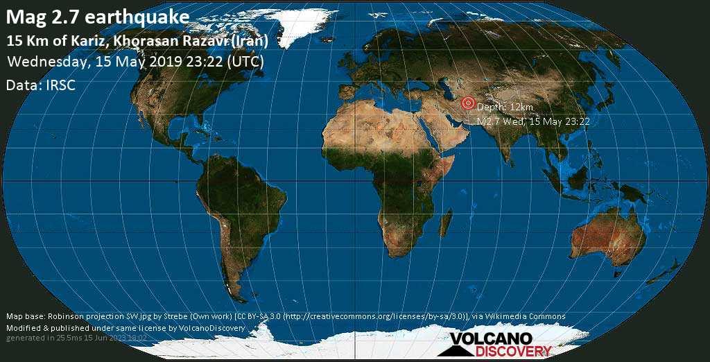 Minor mag. 2.7 earthquake  - 15 km of Kariz, Khorasan Razavi (Iran) on Wednesday, 15 May 2019