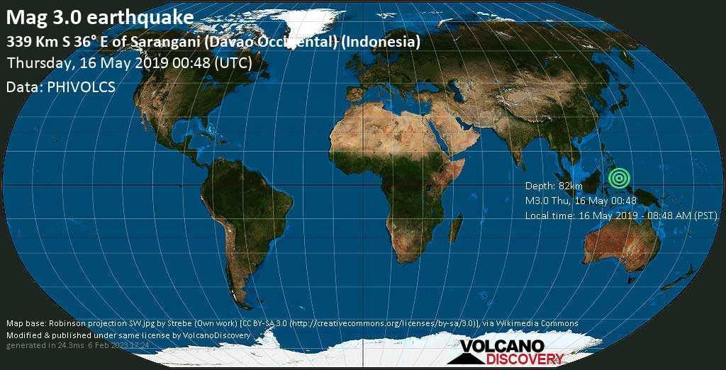Minor mag. 3.0 earthquake  - 339 km S 36° E of Sarangani (Davao Occidental) (Indonesia) on Thursday, 16 May 2019