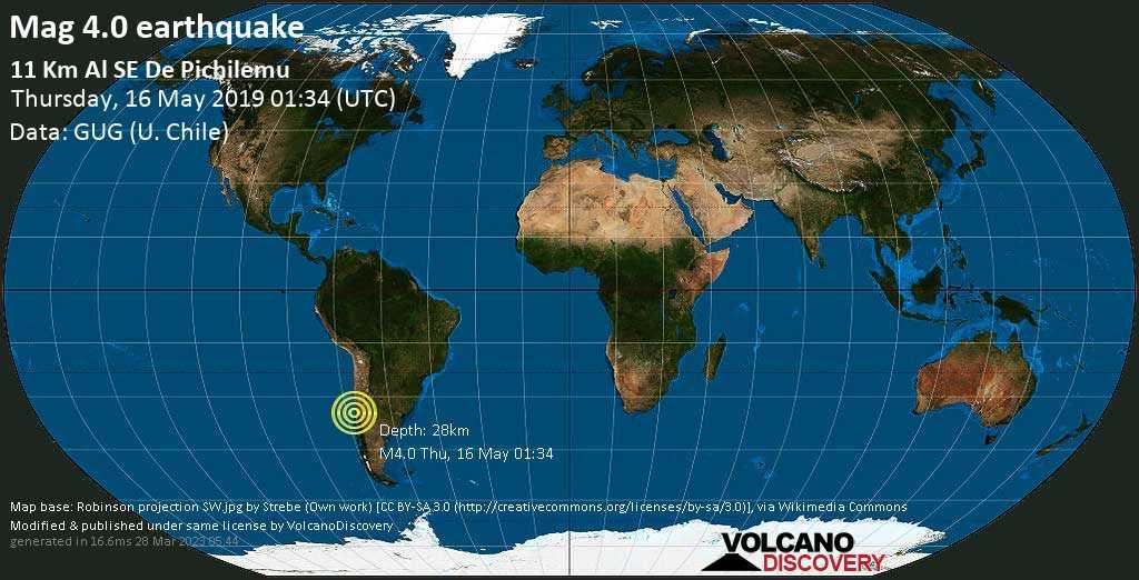 Light mag. 4.0 earthquake  - 11 km al SE de Pichilemu on Thursday, 16 May 2019