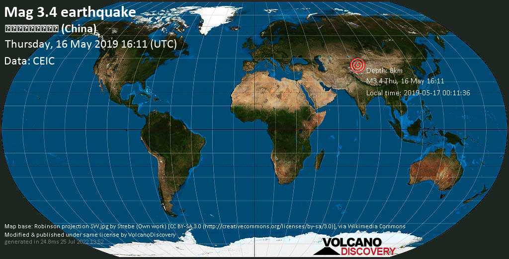 Minor mag. 3.4 earthquake  - 新疆喀什地区巴楚县 (China) on Thursday, 16 May 2019