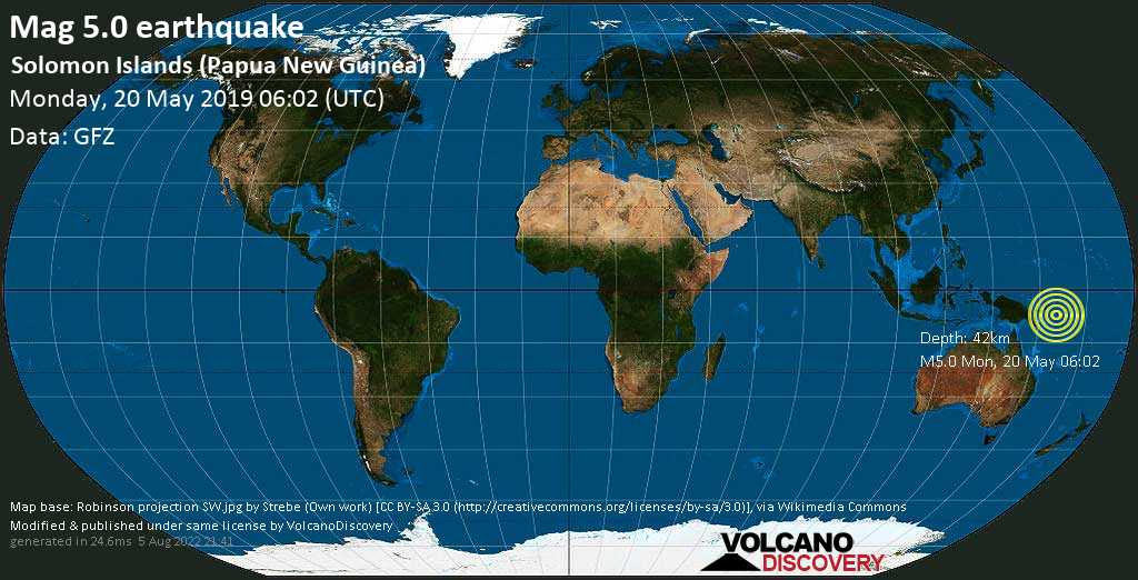 Moderate mag. 5.0 earthquake  - Solomon Islands (Papua New Guinea) on Monday, 20 May 2019