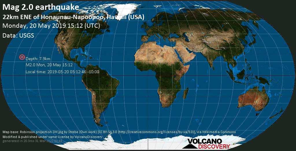 Minor mag. 2.0 earthquake  - 22km ENE of Honaunau-Napoopoo, Hawaii (USA) on Monday, 20 May 2019