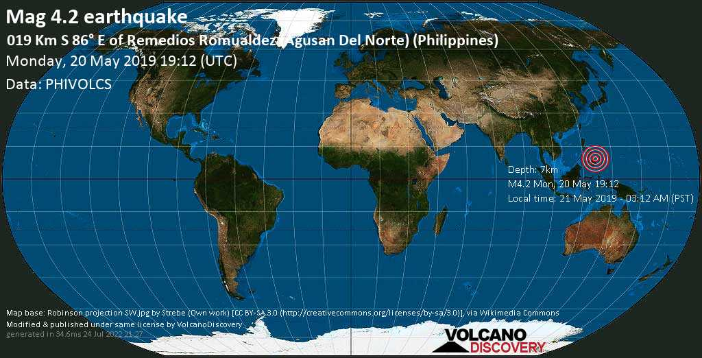 Light mag. 4.2 earthquake  - 019 km S 86° E of Remedios Romualdez (Agusan Del Norte) (Philippines) on Monday, 20 May 2019