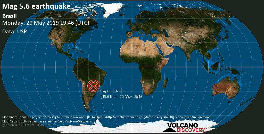Moderate mag. 5.6 earthquake  - Brazil on Monday, 20 May 2019