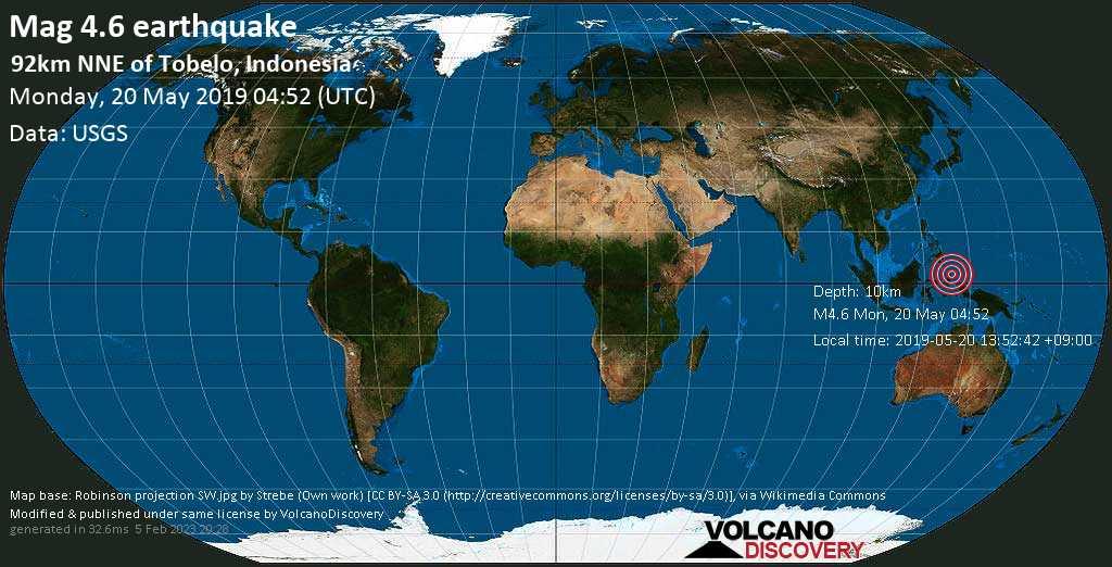 Light mag. 4.6 earthquake  - 92km NNE of Tobelo, Indonesia on Monday, 20 May 2019