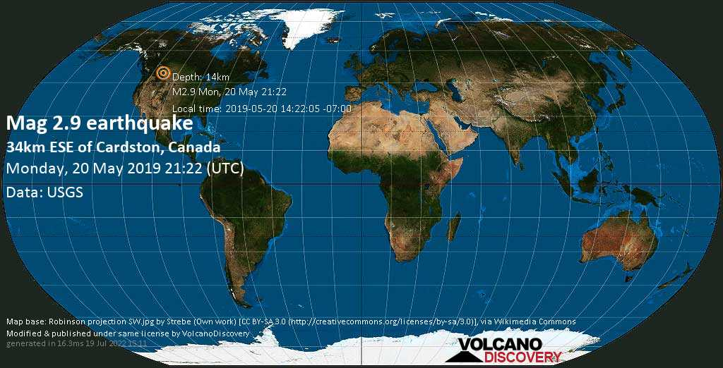 Minor mag. 2.9 earthquake  - 34km ESE of Cardston, Canada on Monday, 20 May 2019