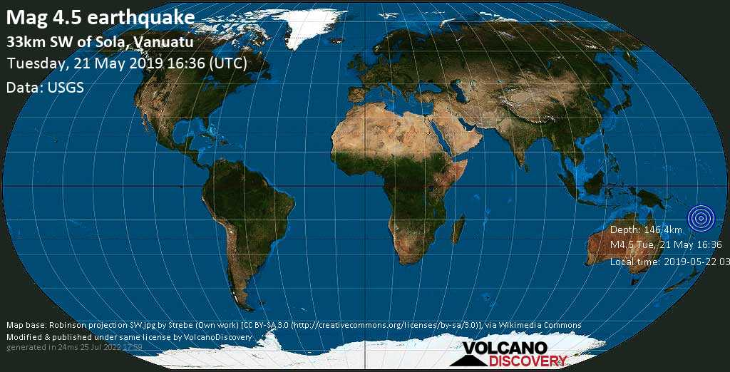 Light mag. 4.5 earthquake  - 33km SW of Sola, Vanuatu on Tuesday, 21 May 2019