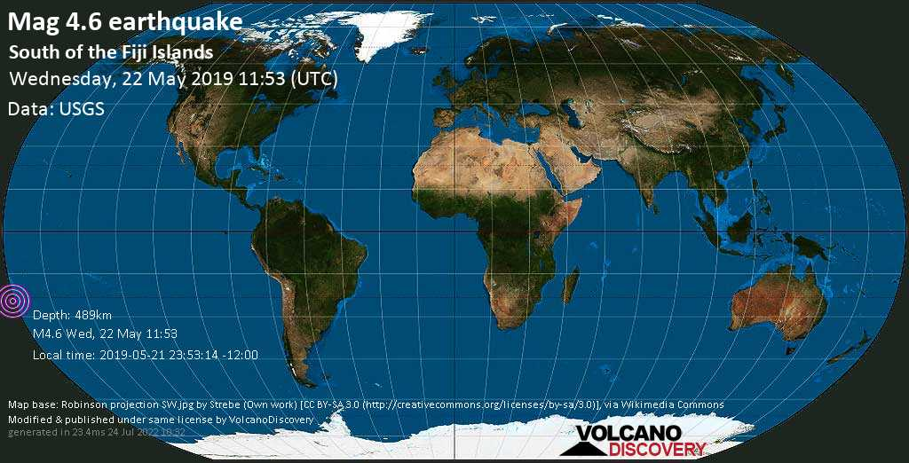 Light mag. 4.6 earthquake  - South of the Fiji Islands on Wednesday, 22 May 2019