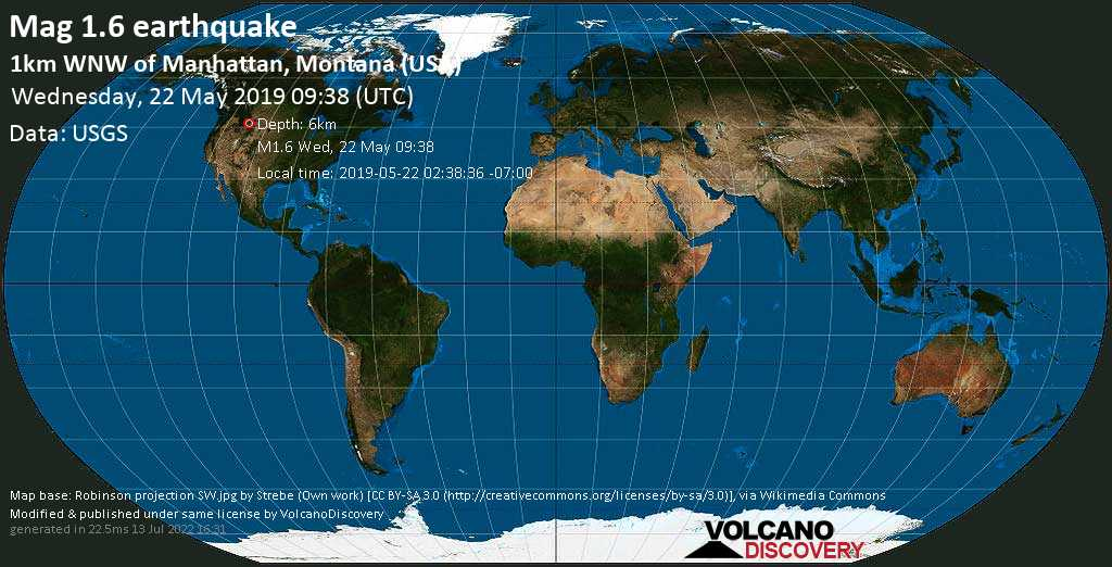 Minor mag. 1.6 earthquake  - 1km WNW of Manhattan, Montana (USA) on Wednesday, 22 May 2019