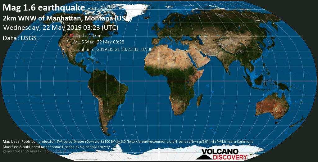 Minor mag. 1.6 earthquake  - 2km WNW of Manhattan, Montana (USA) on Wednesday, 22 May 2019