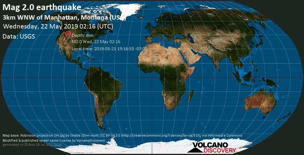 Minor mag. 2.0 earthquake  - 3km WNW of Manhattan, Montana (USA) on Wednesday, 22 May 2019