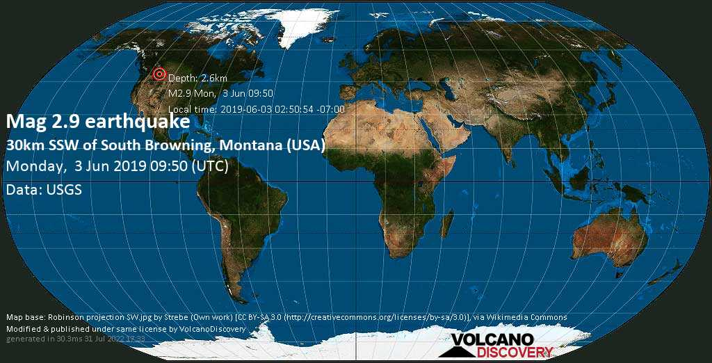 Minor mag. 2.9 earthquake  - 30km SSW of South Browning, Montana (USA) on Monday, 3 June 2019