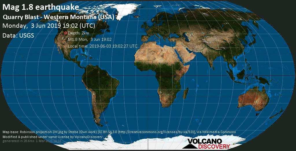 Schwaches Erdbeben der Stärke 1.8 - Quarry Blast - western Montana (USA) am Montag, 03. Jun. 2019