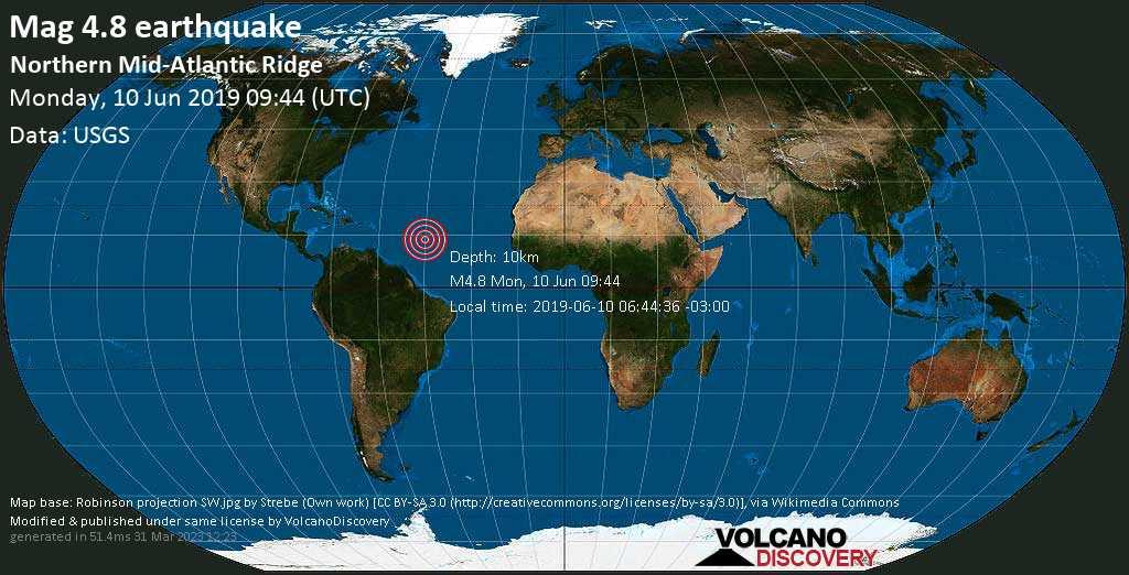 Light mag. 4.8 earthquake  - Northern Mid-Atlantic Ridge on Monday, 10 June 2019